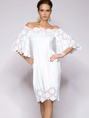 Rebecca White Dress Lace Sleeves
