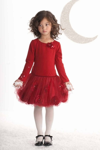 Biscotti Dresses-*Girl's Infant Pocketful Of Posies Long Sleeve Dress in Red*  4t&4