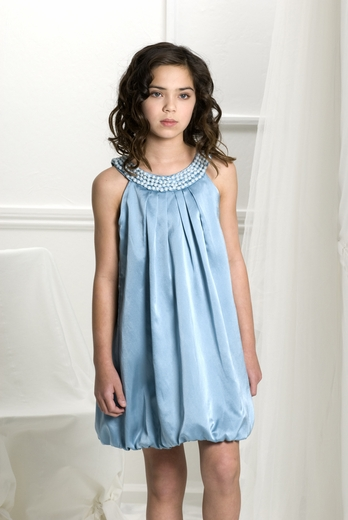 Biscotti Dresses *Mystic Sky* Sateen Bubble Dress with Pearl Neckline- Size 8-14