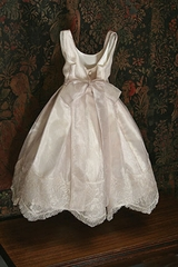 Communion/Flower Girl Dress - Silk with Organza Lace Trim - Cap Sleeve can be added