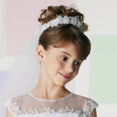 Communion-Flower Girl Head Piece -Bouquet- floral appliques-Back Bow
