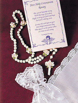 Communion Rosary Beads - Porcelain and Roses - Heirloom