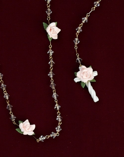 Communion Rosary with Roses - all Crystal imported from Italy
