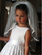Communion Veil-Hand Crafted Gathered Tulle Veil with Fine Lace Detai.