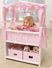 Doll Canopy Crib w/Baskets, Bedding & Mobile-Back