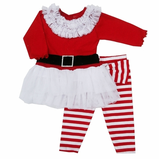 "Haute Baby ""Ho Ho Ho"" 2pc Toddler Girl Holiday Outfit"