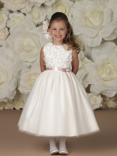 Joan Calabrese *113348*  Taffeta Flowers and Tulle Over Satin - Lovely in all white for Communion