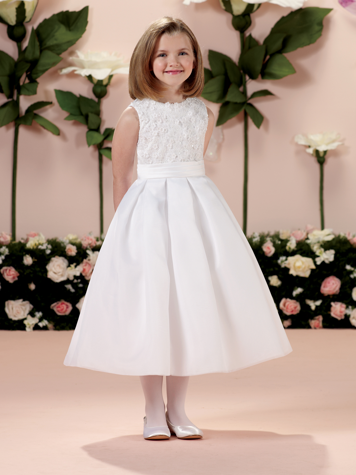 Joan calabrese 114343 communion dress satin with jewel neckline