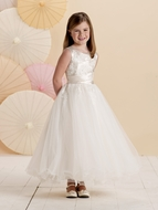 Joan Calabrese *214383* Sleeveless satin, tulle and lace with jewel neckline