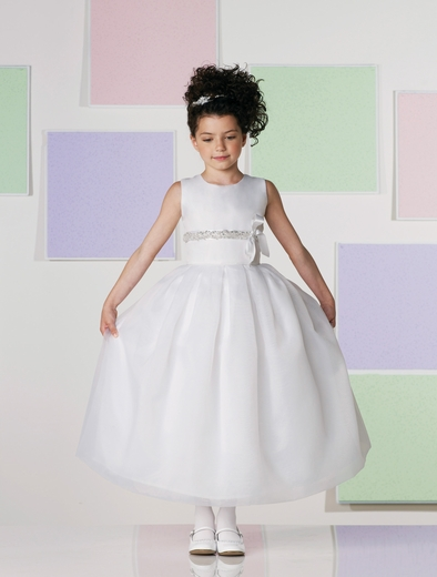 Joan Calabrese *Hand-beaded Satin Ribbon Communion Dress*