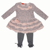 Kate Mack  2PC Tunic and Legging- Pink&Gray, Size 6-
