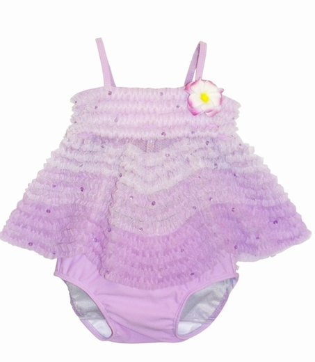 "Kate Mack ""Enchanted Orchid"" 2 pc Ruffled Swimsuit -Sizes 3m to 24m"