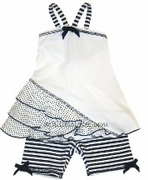 Kate Mack *Good Ship Lollypop* White w/Navy Polka Dot Tunic w/Navy Stripe