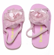 Kate Mack- *Pink Dipped in Ruffles* Poolside Petals Tulle Trim Sandals with Strap-- 4/6
