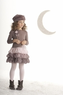 Kate Mack -*Swiss Mocha* Sweet Brown and Pink Ruffle Dress Sizes 5-8