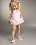 Kate Mack *TuTu Cute* Swimsuit (pink & green) - 6m