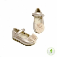 Silk Rose Mary Jane in Pearl Champagne- Leather!
