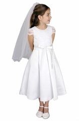 Us Angels-c5-366- Lace and Satin with Box Pleated Skirt