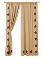 Burlap Natural Burgundy Stars Panel Drapes (84x40)