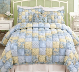 Country Blue Plaid Puff Quilt Set