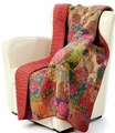 Jewel Red Boho Quilted Throw