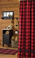 Red Buffalo Check Black Bear Shower Curtain