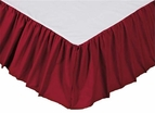Solid Red Gathered Bedskirt