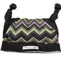Black & Zig Zag Double Knot Hat, 6-12 mos