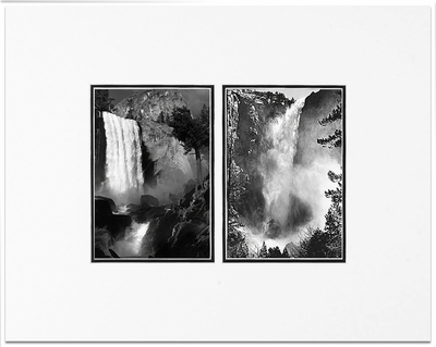 Vernal Fall and Bridalveil Fall,Yosemite National Park, CA 1945/1927