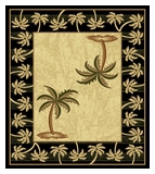 Black Bahamas Palm Tree Rug 2320