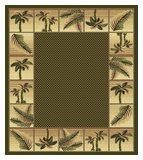 Green Bahamas Rug with Palm Tree Border 2319