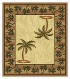 Mustard Bahamas Palm Tree Rug 2320