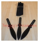 Set of 3 Black Throwing Knives <br>A1303BK