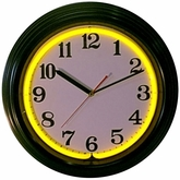 Black Rim Yellow Standard Neon Clock