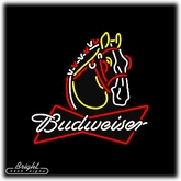 Budweiser Ribbon Clydesdale Neon Beer Sign