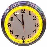Chrome Yellow Standard Neon Clock