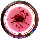 Fancy Flamingos Neon Clock