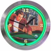 James Dean Billiards Neon Clock