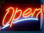 Large Script Neon Open Sign