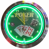 Poker Green Neon Clock