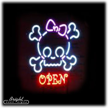 Princess Skull Neon Open Sign