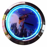 Skiing Neon Clock