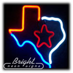Texas with Star Neon Sculpture