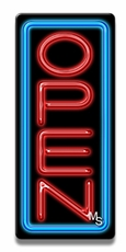 Vertical Blue & Red Neon Open Sign