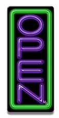 Vertical Green & Purple Neon Open Sign