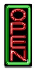 Vertical Green & Red Neon Open Sign