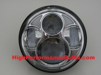 LED 5-3/4 inch Chrome Projector Headlight for Harley Davidson Motorcycles