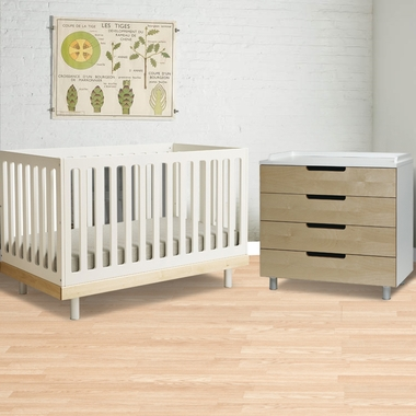 2 Piece Nursery Set - Classic Collection Crib & 4 Drawer Dresser - Birch by Oeuf - Click to enlarge