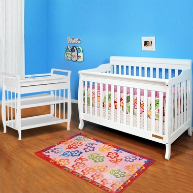 Baby Crib With Attached Changing Table