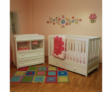 AFG 2 Piece Nursery Set   Marilyn Convertible Crib And Leila 2 Drawer  Changer In White